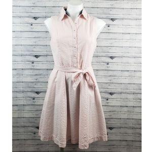 Cynthia Rowley Pink/White Striped Seersucker Dress